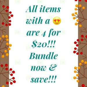4 for $20!!! On items with a 😍